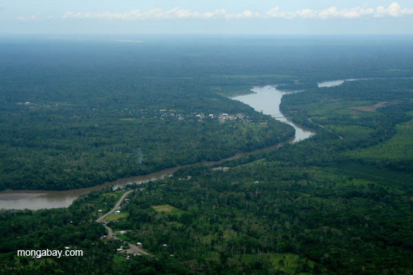 Settlement near fronter town, Coca, on the Napo River in the Ecuadorian Amazon