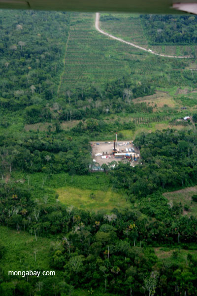 Industry and cleared forest near frontier town, Coca, in the Ecuadorian Amazon