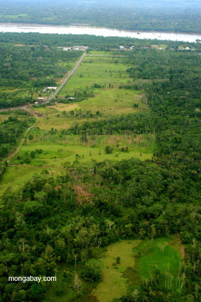 Deforestation with Napo River in the background in the Ecuadorian Amazon