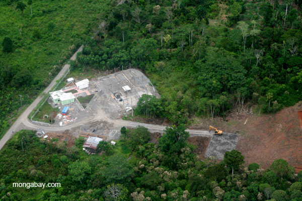 settlements and deforestation at the edge of frontier town, Coca, in the Ecuadorian Amazon