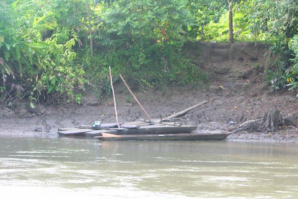 Canoes on the edge of the Napo River in the Ecuadorian Amazon