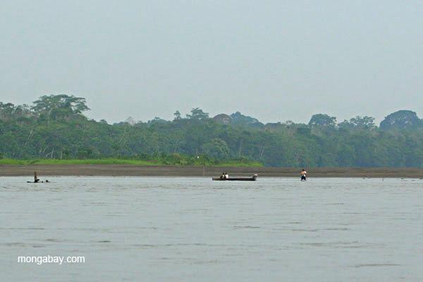 Motorboat in the Napo River in the Ecuadorian Amazon