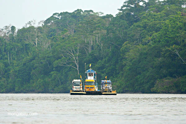 Boats carrying equipment on the Napo River in the Ecuadorian Amazon