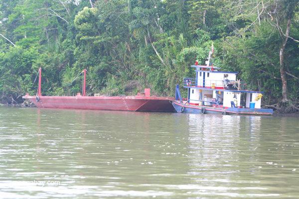 Boat on the Napo River in the Ecuadorian Amazon