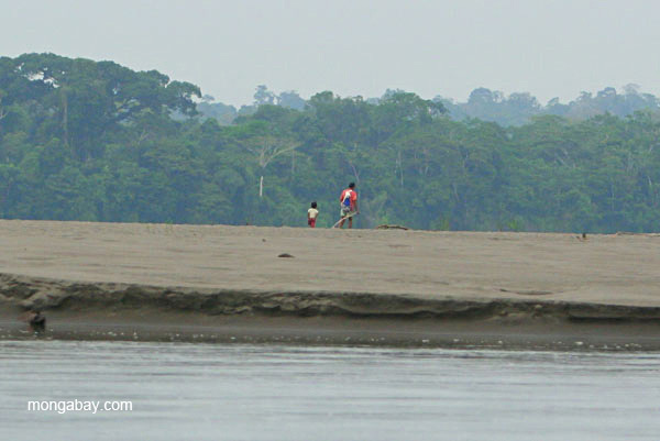 Family in Napo River in the Ecuadorian Amazon