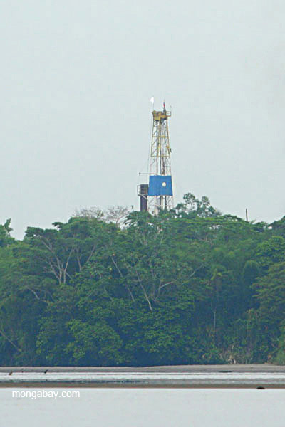 Oil tower with gas flare in the Ecuadorian Amazon