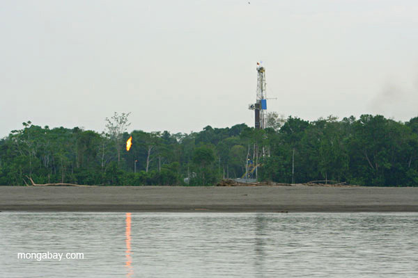 Oil tower with gas flare on the Napo River in the Ecuadorian Amazon. Photo by: Jeremy Hance.