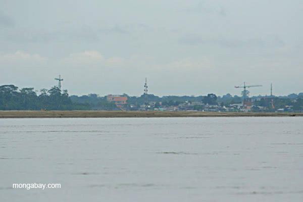 Harbor of frontier town, Coca, in the Ecuadorian Amazon