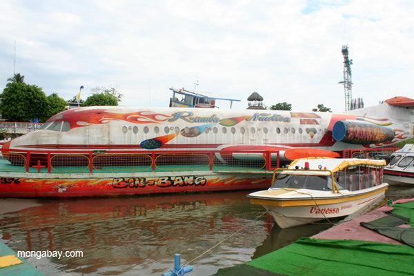 Boats at the Coca harbor in Ecuadorian Amazon