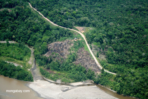 Cleared forest and settlements along Napo River in Ecuadorian Amazon