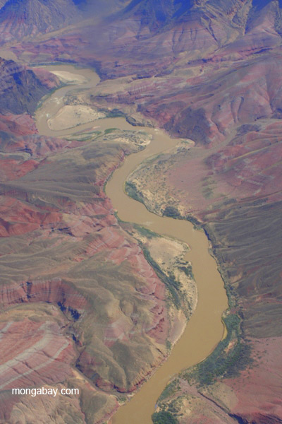 Aerial view of the Colorado River in Grand Canyon National Park, Arizona