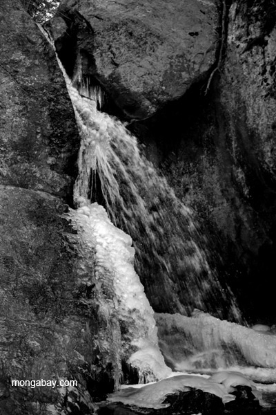 Half frozen waterfall in the Sangre de Cristo Mountains, New Mexico