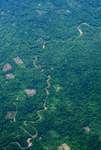 Aerial view of fragmentation and river in the Ecuadorian Amazon