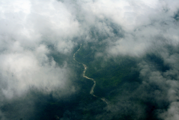 Aerial view of the Napo River through the clouds