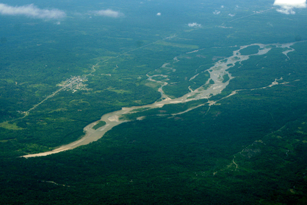 Aerial view of Napo River and Coca, a frontier town