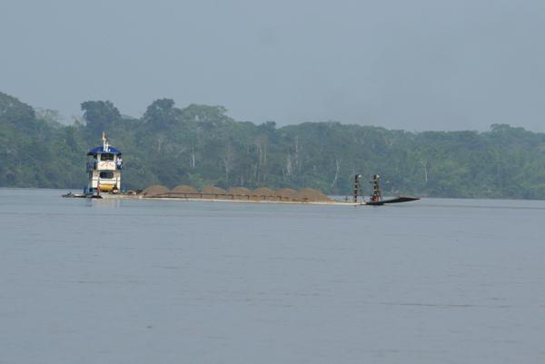 Boat on Napo River on the border of Yasuni National Park in the Ecuadorian Amazon