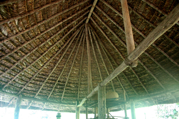 Traditional meeting house of the Anangu Quichua community in Yasuni National Park in the Ecuadorian Amazon