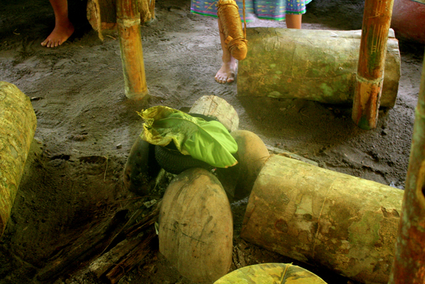Traditional cooking area display of the Anangu Quichua community in Yasuni National Park in the Ecuadorian Amazon