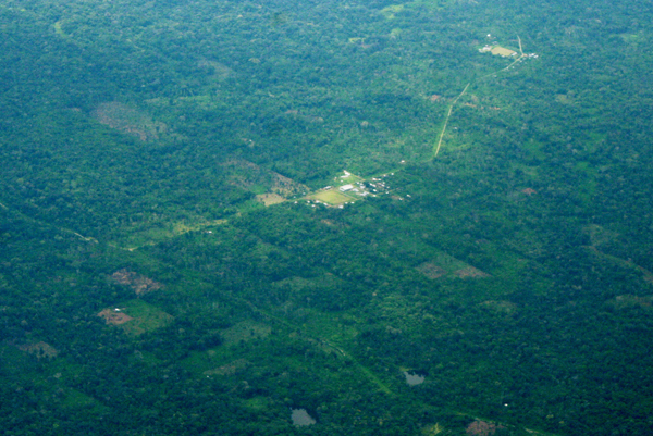 Aerial view of fragmentation and settlements in the Ecuadorian Amazon