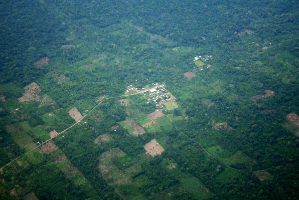 Aerial view of fragmentation, roads, and settlements in the Ecuadorian Amazon