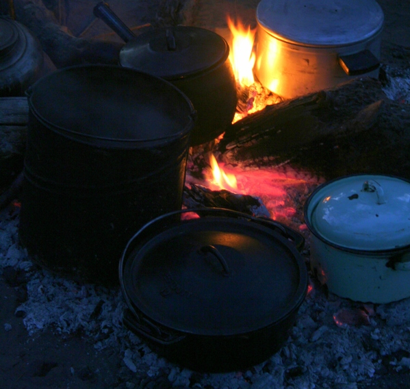 Campfire in African bush