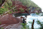 Volcanic red sand beach