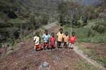 Kids among sweet potato fields in the highlands of New Guinea