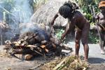 Dani man roasting pig [papua_0515]