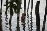Boy playing in Lake Sentani