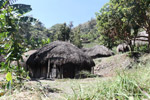 Village of grass huts in the highlands of New Guinea