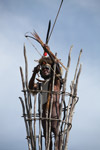 Dani elder in traditional dress with a bow and arrow atop a watch tower [papua_5398]
