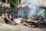 Dani man preparing a pig for a feast [papua_5797]