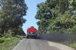 Oil tanker truck spewing exhaust
