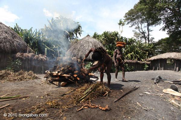 Dani man roasting hog [papua_0514]