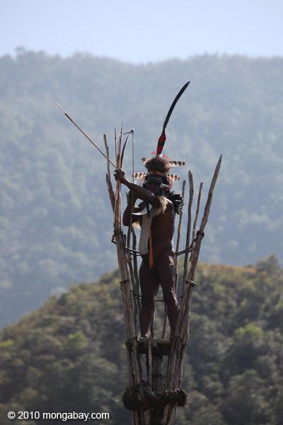 Dani elder in traditional dress atop a watch tower [papua_5388]