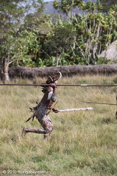 Dani men in ceremonial battle [papua_5491]