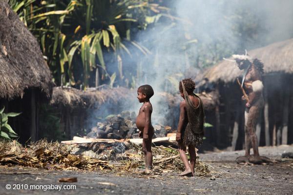 Dani kids in a Papuan village