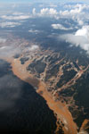 Airplane view of the Río Huaypetue gold mine the Peruvian Amazon