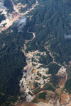 Aerial view of the Río Huaypetue gold mine in Peru