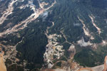 Overhead view of the Río Huaypetue gold mine in Peru