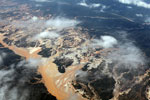 Overhead view of the Río Huaypetue gold mine the Peruvian Amazon