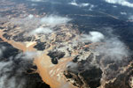 Río Huaypetue gold mine in the Amazon rainforest