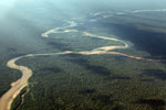River polluted with mine tailings entering a rainforest river
