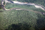 Aerial photography of a rainforest river in Peru
