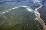 Polluted river merging with a pristine river in the Amazon