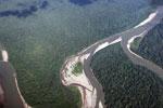 Overhead photograph of a rainforest river in Peru