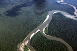 Overhead photograph of a rainforest river in the Peruvian Overhead photograph of an