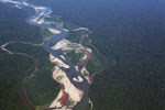 Overhead view of a twisting rainforest river in the Peruvian Amazon