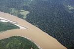 Aerial view of a rainforest lodge in Peru