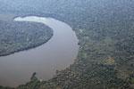 Aerial view of Sandoval Lake in Peru